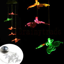 Butterfly Solar Powered Wind Chime LED Light Hanging Lamp Yard Garden Decor
