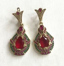 Ruby Turkish Ottoman Handmade Jewelry Sterling Silver Dangle Chandelier Earrings