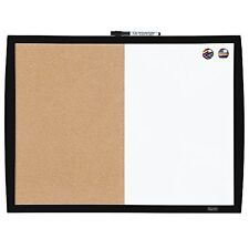 """Quartet Magnetic Combination Board with Curved Frame, Cork / Dry-Erase, 17"""" x..."""