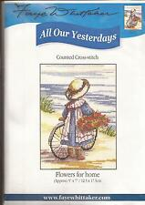"""Counted Cross Stitch All Our Yesterdays 7"""" x 5"""" Flowers for Home (073-13)"""