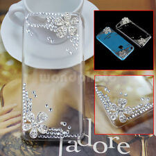 Clear Plastic Bling Rhinestone Flower Rear Back Phone Case Cover For iPhone 5C