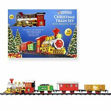 New 14pc Christmas Train Set With Carriage And Light To Go Round Christmas Tree