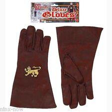 Medieval Knight King Arthur Men's Gloves Brown Faux Suede Fancy Dress Costume