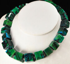 """NY6DESIGN Blue/Green Chrysocolla Cube Beads Silver Toggle Necklace 20"""""""