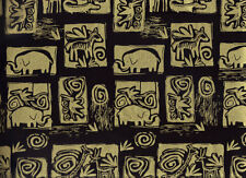 BTY ETHNIC ANIMAL BLOCKS Print 100% Cotton Quilt Crafting Fabric by the Yard