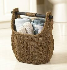 """Seagrass Basket With Wooden Handle 13"""" X 16"""""""