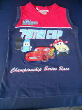 Boy's Size 6  Cars  Lightning McQueen navy/red sleeveless tee muscle top