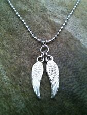 Silver Plated Guardian Angel Bird Wings Charm Necklace, Pendant Ball Chain