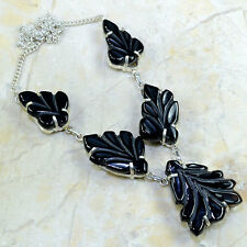 """BEAUTIFUL GENUINE CARVED LEAVES BLACK AGATE NECKLACE 19 1/2"""" COLLECTOR'S ITEM!!"""