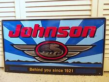 Vintage Sign Johnson Seahorse Outboard Motor Boat Fishing Metal Sign
