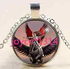 Pegasus and angel Cabochon Tibetan silver Glass Chain Pendant Necklace #2526