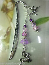 Beaded Bookmark Horse Pegasus Purple Flowers Animals Handmade Silver Designs