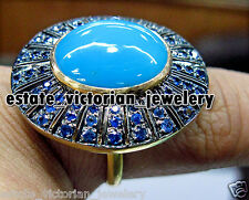 Estate Vintage Victorian Turquoise Sapphire .925 Sterling Silver Jewelry Ring