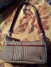 Ralph Lauren Lauren Brown & Cream Tweed/Herringbone Fabric Purse Handbag