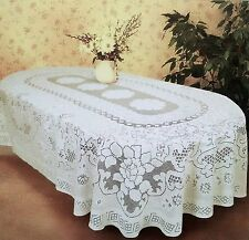"""Luxury Lace ROUND TABLECLOTH (36 """"x 36"""" RD) Bianco Poliestere Floreale Elegante"""