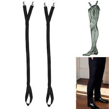 2x Mens Black Elastic Anti-slip Straighten Shirt Stays Shirt Holders Garters