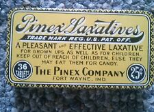 PINEX LAXATIVE TIN 1915-1920 FORT WAYNE INDIANA Lithographed old and unused