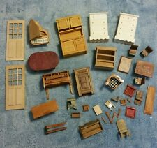 Vintage Mixed LOT of Dollhouse Furniture Wooden Doll House Furniture Extras