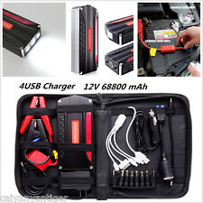 3LED SOS 68800 mAh 4USB Emergency Car Jump Starter Power Bank Booster Battery