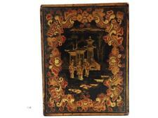 19TH CENTURY ANTIQUE CHINESE BLACK LACQUER BOX FIGURES RED & GOLD QING