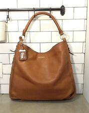 Prada XL Tan Pebbled Brown Leather Zipper Hobo Shoulder Bag Gold Hardware Tote
