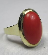 Large Vintage 14ct Gold Undyed Salmon Coral Cabochon Solitaire Ring Size Q