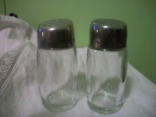 Clear Glass with Slanted Metal Lids Salt & Pepper Shakers