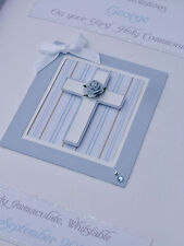 Luxury Personalised Boy's 1st Holy Communion/Baptism/Christening Card, boxed