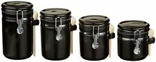 Anchor Home Collection 4 Piece Ceramic Canister Set with Clamp Top Lid and a Woo