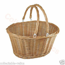 Cane Woven Shopping Basket Wicker Picnic Hamper Fold Handles Vintage Retro 826C