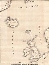 IMAGE 1848 ENGRAVING  CARTE MAP ILES FEROE ISLAND SHETLAND UK ANGLETERRE IRELAND