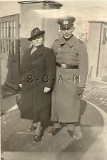 WWII German RP- Soldier with Heavy Set Wife- Frau- Overcoat- Gloves- 1940s