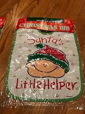 "Christmas Baby Bib Plastic ""Santa's Little Helper"" New in Original Package"