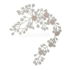 Wedding Bridal Flower Silver Pearl Crystal Tiara Headpiece Hair Accessories