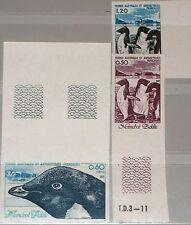 TAAF FSAT 1980 Maury 89-91 149-51 U Tiere der Antarktis Penguins Pinguine MNH