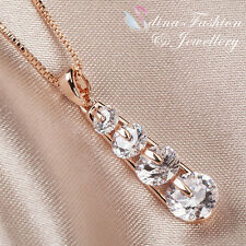 18K Rose Gold Plated 4 x Simulated Diamond Sparkling & Exquisite Necklace
