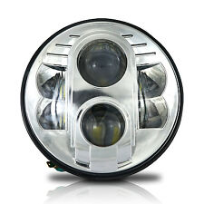 """7"""" Motorcycle Chrome Projector 80W HID LED Light Bulb Headlight For Harley"""