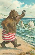 BEAR SWIMMING AT BEACH, HUMANIZED, FROM A VINTAGE POSTCARD, MAGNET