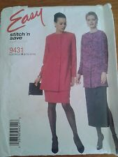 McCALLS STITCH 'N SAVE 9431  MISSES UNLINED JACKET  PULL-ON SKIRT SIZE A 8-14
