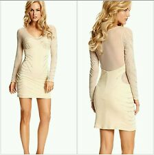 NWT $269 GUESS by Marciano beige Angela Long-Sleeve Embellished Dress size L