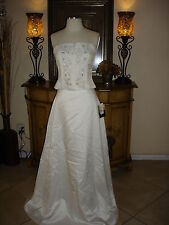 2PC White Jessica McClintock Strapless Elegant Wedding/Prom/Formal Gown Size 6