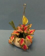 Dollhouse miniature 1:12 scale Caladium w/bud in glazed pot by Bright deLights