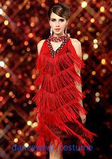 Cocktail Club Party Ballroom Latin Salsa Dance Dress V-Neck Fringe Tassels Skirt