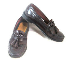 Allen Coles Cordovan Mens Leather Shoes Loafers Slip on Tassels & Bow Size 9 US