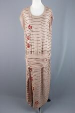VTG 1920s Women's Taupe Beaded Drop Waist Dress w/ Embroidery #1131 20s Flapper