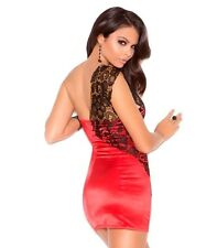 New Years Dress Red Small Women Black Lace Bodycon Satin Party Cocktail Holiday