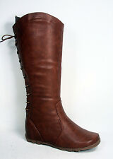 Women's Flat Heel Back Lace Up Mid-Calf  Zipper Boots Shoes All Size 5 - 10 NEW