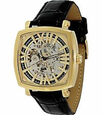 Adee Kaye AK2259-MG Mens Watch Automatic Gold Tone Skeleton Dial Leather Band