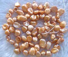"freshwater pearl deep champagne reborn keshi 7-10mm 14.5"" loose beads"