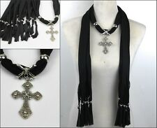 New Lady Jewellery Scarf Necklace with alloy  Cross Pendants